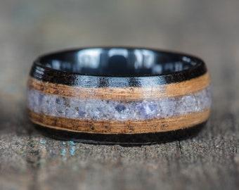 Tanzanite Whiskey Barrel Ebony Wood Black Ceramic Ring