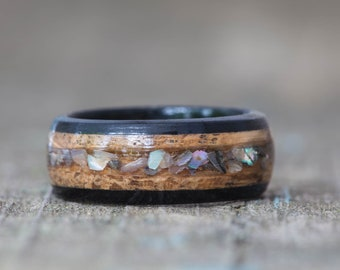 Whiskey Barrel and Ebony Ring with Abalone Shell Inlay