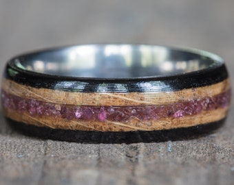 Tennessee Whiskey Barrel, Ebony, and Titanium Ring with Garnet Inlay
