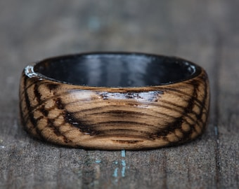 Carbon Fiber Tennessee Whiskey Barrel Wood Ring