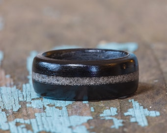 Ebony Wood Ring With Your Sand Inlay