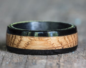 Tennessee Whiskey Barrel and Ebony Wood and Carbon Fiber Ring