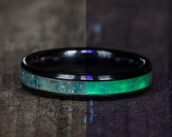 Glowing Amazonite Inlay Black Ceramic Stacking Ring