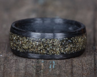 Your Sand Inlay Carbon Fiber Ring