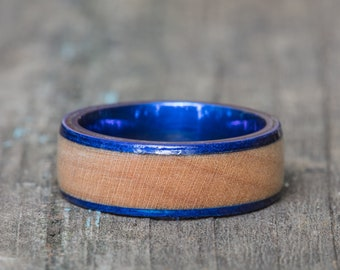 Kentucky Basketball Floor Wood and Blue Titanium Ring