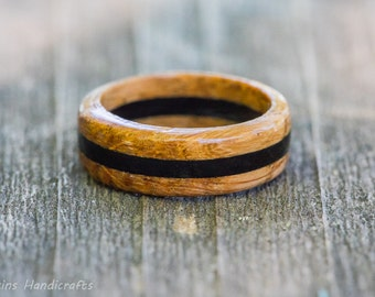 Whiskey Barrel Ring with Ebony Inlay