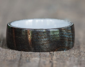 Black Dyed Redwood Burl Ring with White Ceramic Liner