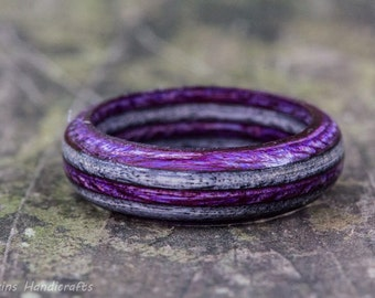 Purple and Gray Wood Ring