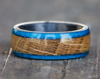 Whiskey Barrel and Blue Dyed Wood and Carbon Fiber Ring