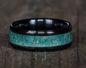 Amazonite Inlay Black Ceramic Ring