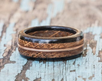 Whiskey Barrel and Ebony Ring with Brass Guitar String Inlay