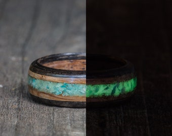 Whiskey Barrel and Ebony Ring with Amazonite and Green Glow in the Dark Powder Inlay