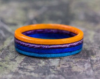 Orange, Blue, and Purple Wood Ring