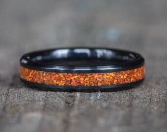 Orange Opal White Ceramic Stacking Ring