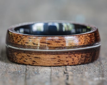 Koa Wood, Black Ceramic, and Guitar String Inlay Ring
