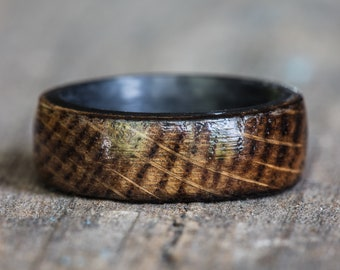 Carbon Fiber Kentucky Bourbon Barrel Wood Ring