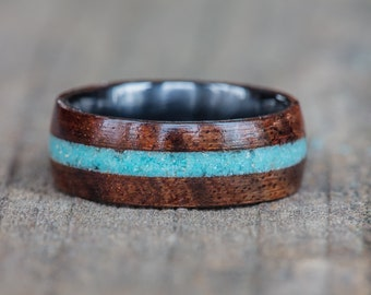 Koa Wood, Black Ceramic, and Turquoise Inlay Ring