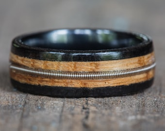 Tennessee Whiskey Barrel, Ebony, and Black Ceramic Ring with Guitar String Inlay