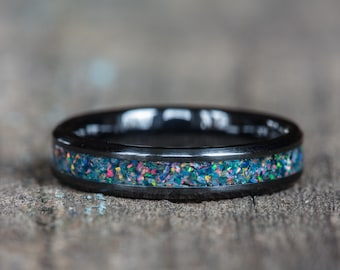 Blue Rainbow Opal White Ceramic Stacking Ring