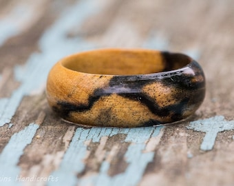Black and White Ebony Wood Ring