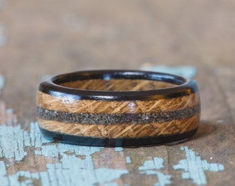 Whiskey Barrel and Ebony Wood Ring With Your Sand Inlay