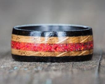 Red Opal, Whiskey Barrel, Ebony, and Carbon Fiber Ring