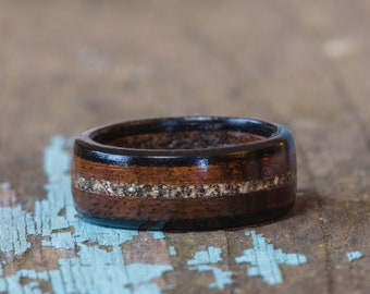 Hawaiian Koa and Ebony Wood Ring With Your Sand Inlay