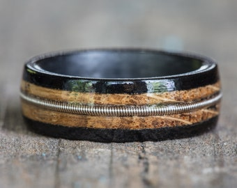 Tennessee Whiskey Barrel, Ebony, and Carbon Fiber Ring with Guitar String Inlay