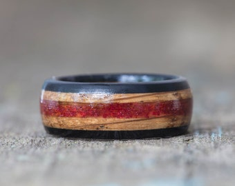 Whiskey Barrel and Ebony Ring with Red German Glass Glitter Inlay