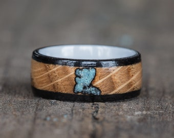 Whiskey Barrel, Ebony, Turquoise, and White Ceramic Ring
