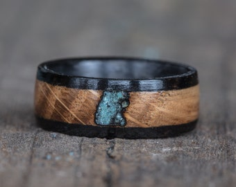 Whiskey Barrel, Ebony, Turquoise, and Carbon Fiber Ring