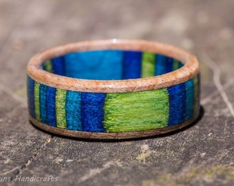 Blue, Green, and Maple Wood Ring