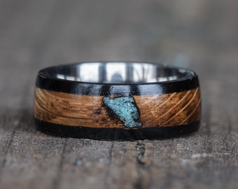 Whiskey Barrel Turquoise Inlay Titanium Ring with Ebony