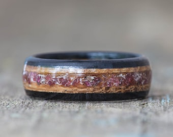 Whiskey Barrel and Ebony Ring with Garnet Inlay