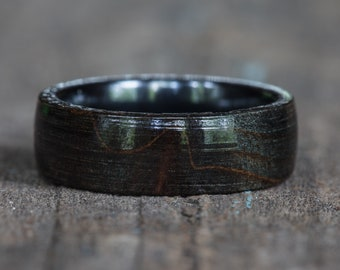 Black Dyed Redwood Burl Ring with Black Ceramic Liner