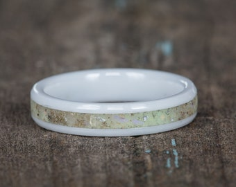 Natural Opal White Ceramic Stacking Ring