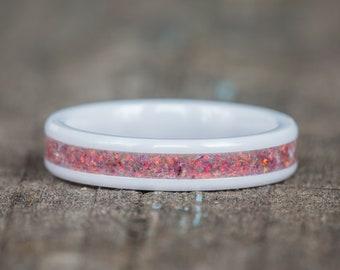 Tiger Eye Opal White Ceramic Stacking Ring