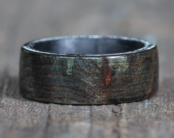 Black Dyed Redwood Burl Ring with Carbon Fiber Liner