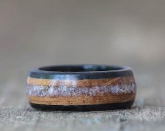 Whiskey Barrel and Ebony Ring with Tanzanite Inlay
