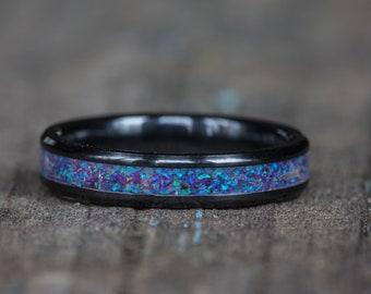 Purple Pink Opal White Ceramic Stacking Ring