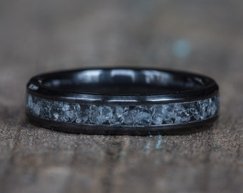 Aquamarine Black Ceramic Stacking Ring