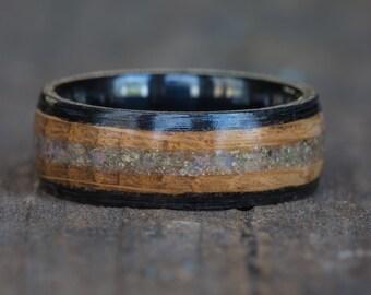 Whiskey Barrel and Ebony Wood Natural Opal Black Ceramic Ring