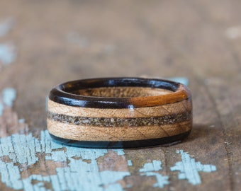 Maple and Ebony Wood Ring With Your Sand Inlay