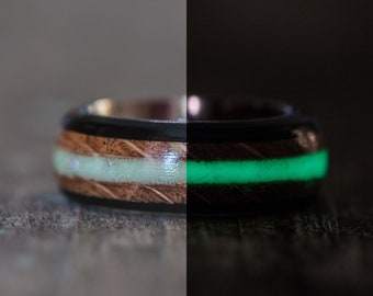 Tennessee Whiskey Barrel, Ebony, and Titanium Ring with Green Glow in the Dark Inlay