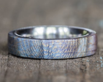Blue Purple Dyed Maple Wood Ring with Titanium Liner