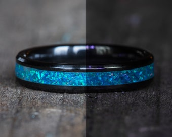Glowing Blue Opal Black Ceramic Stacking Ring