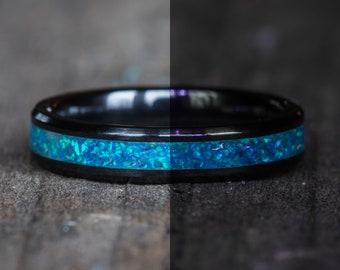 Glowing Blue Opal Black Ceramic Stacking Ring