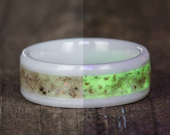 Natural Opal Glow in the Dark White Ceramic Ring