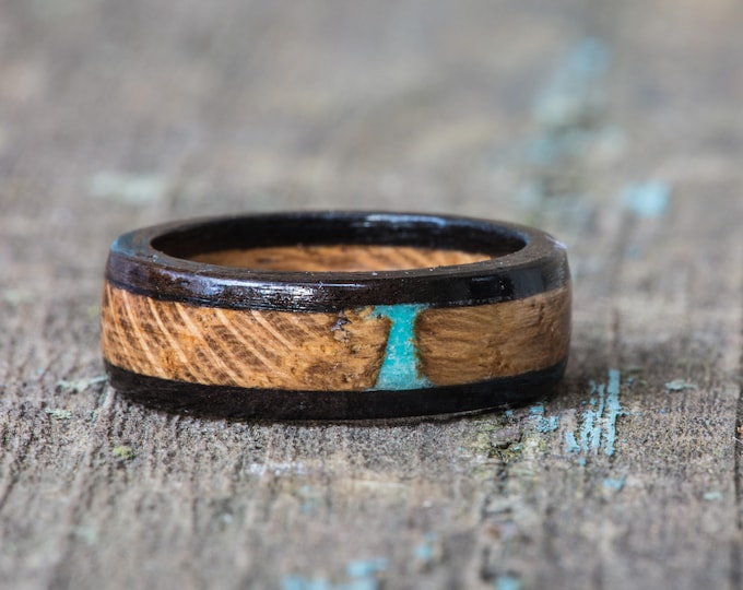Featured listing image: Whiskey Barrel and Ebony Wood Ring with Turquoise Inlay