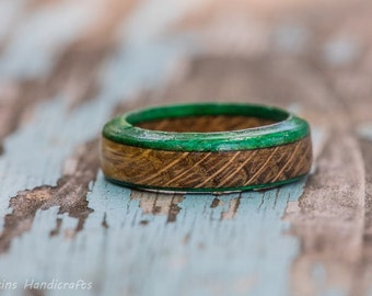 Green Edged Tennessee Whiskey Barrel Ring